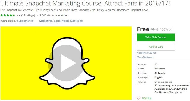 Ultimate Snapchat Marketing Course: Attract Fans in 2016/17! by freeudemycourses.info