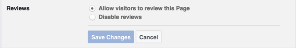 Enable the setting that allows visitors to leave a review on your Facebook page.