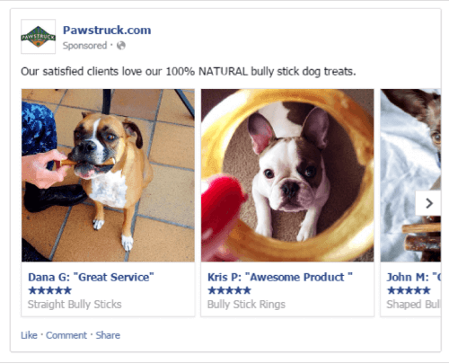 You can incorporate customer reviews in your Facebook ads.